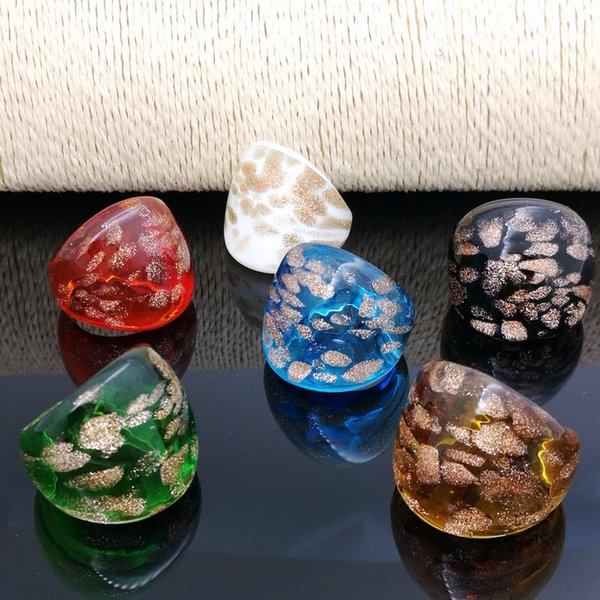 Free Shipping Wholesale Hot 6Pcs 17-19mm Dots Gold Sand Lampwork Glass Murano Rings, Fashion Murano Rings