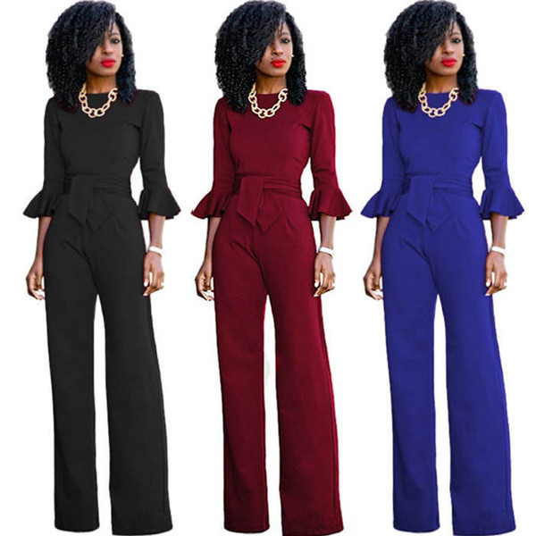 Women Clothes Crew Neck Playsuit Bodycon Long Sleeve Wide Leg Jumpsuit Romper Trousers Sexy New Fashion Women Leotard
