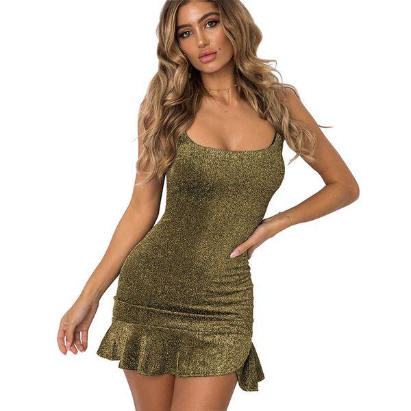2018 summer sexy Low-cut Backless dresses Fashionable Irregular Metal color Bodycon  dress women Leisure Harness dress Nightclub Mini Dress f6f6a36a0