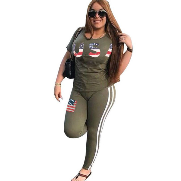 Women Summer Tracksuit USA Letter Print Outfit Short Sleeve T Shirt Tops + Pants Leggings With USA Flag 2PCS Set for USA Independence Day