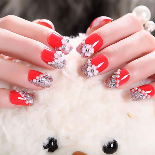 24 pçs / set Bonita Noiva Flora Nail Art Decoração Pré-Acabado Breve Glitter Unhas Falsas Ferramenta Manicure Faux Ongles com Cola