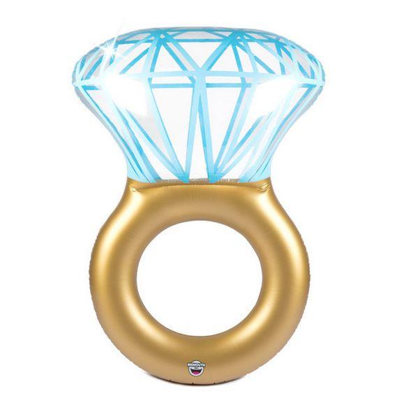 ¡Diversión en el agua! Accesorios de la fiesta de bodas Anillo de diamante inflable anillo de diamante inflable cama flotante PVC agua adulto nadar