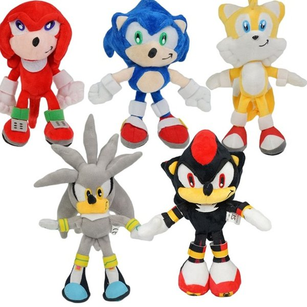 25CM Cartoon Sonic The Hedgehog Plush Stuffed Toy 10inch Doll Black Shadow Sonic Doll 10'' With Suction Cup PP Cotton Kids toys baby sleep