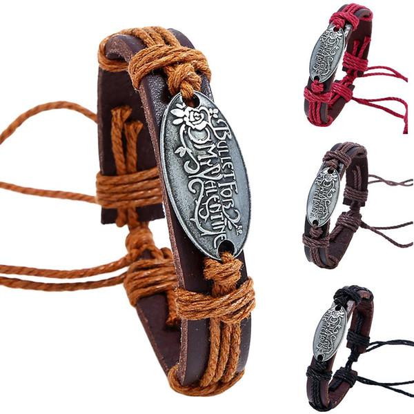 Hombres retro trenzado hecho a mano de cuero de imitación pulsera de la aleación letras pulsera joyería hombres pulseras de la amistad de alta calidad