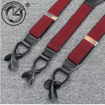 3.5cm men suspenders Braces with High quality really cowhide leather button