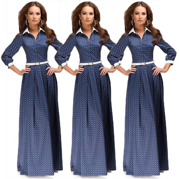 digital printing long sleeve spring summer dress, round neck long skirt waist wave point