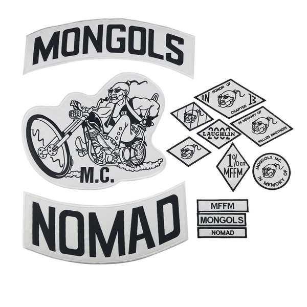 MONGOLS NOMAD Motorcycle club Patch MC Embroidered Full Back Large Pattern For Rocker Biker Vest Patches for clothing Free Shipping