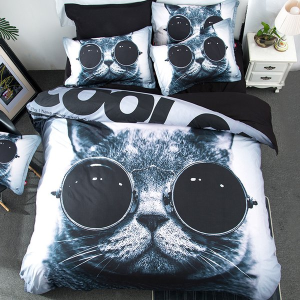 Free shipping Novelty funny Gift cool cat pattern bedding set duvet Quilt Cover with 2 pillowcase Twin full Queen King size