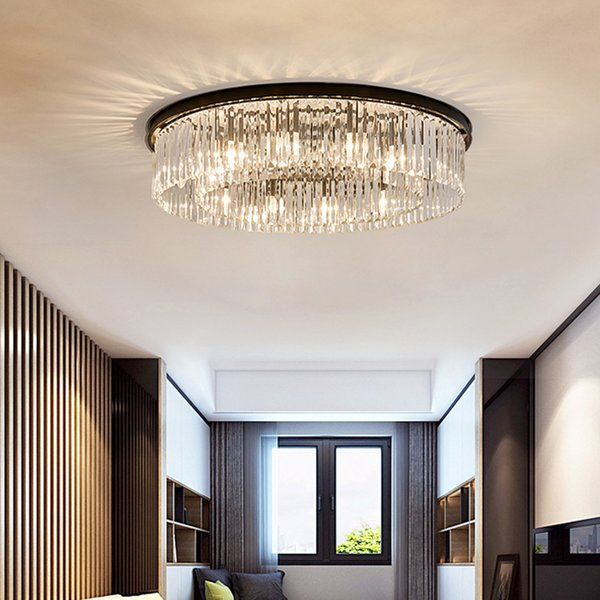 2019 American Crystal Ceiling Lamp Living Room Bedroom Led Ceiling Lamp  Household Flush Mount Ceiling Light Modern Iron Crystal Light Fixtures From  ...