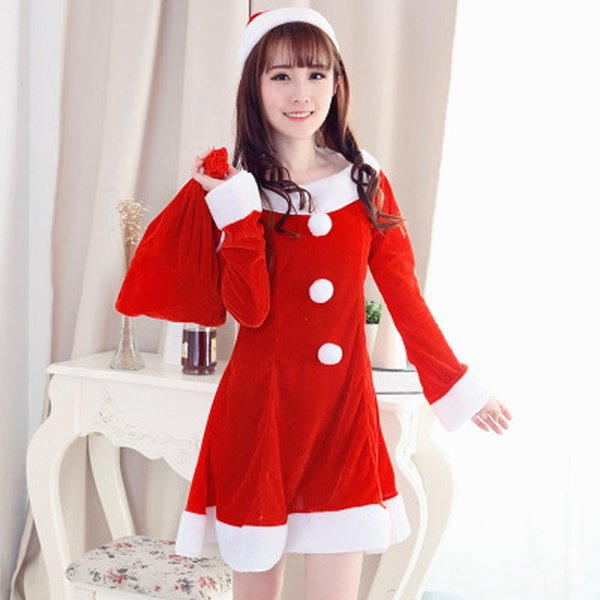 Hot Sale Sexy Women Santa Claus Christmas Costume Party Girls Outfit Fancy Dresses Christmas Clothing With Hat Dress And Giftbag