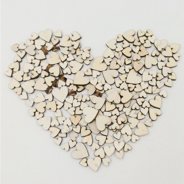 Wooden Button 100pcs 4 Size Mixed Love Heart Shape Rustic Wedding Table Scatter Decoration Home Decor
