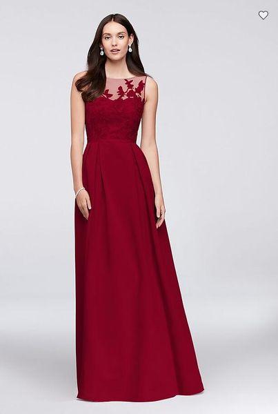 Free Shipping 2018 New Arrival OC290023 Appliqued Illusion Faille Bridesmaid Dress Custom Made Bridesmaid Dress