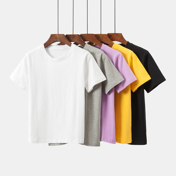 2018 summer new Korean version loose, pure color large code round neck short sleeved T-shirt cotton dress
