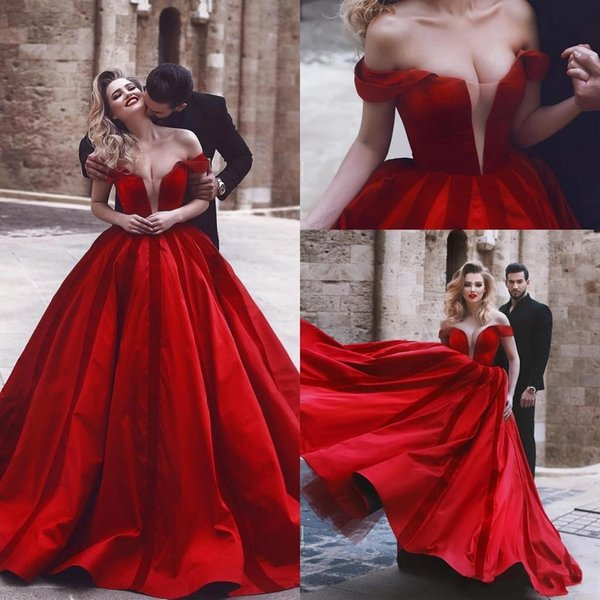 2019 Romantico Off Shoulder Red Abiti da sera sexy Medio Oriente Arabo African Ball Vestido de novia Abito da sposa Plus Size Custom Made