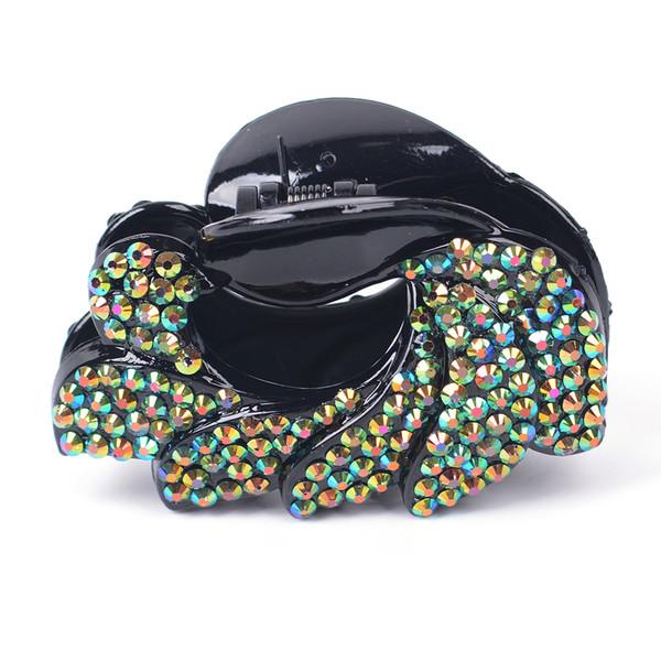 Hair Claws Grip Crystal Rhinestone Clips Plastic Clamp Crocodile Women Lady Headwear Fashion Hairpin Accessory Hairpieces 6pcs/lot