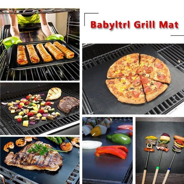 PTFE Barbecue Grill Mat pad Thick Durable 33*40CM Gas Grill Barbecue Mat Reusable Outdoor Picnic Cooking BBQ Grill Mat Sheet Tool New