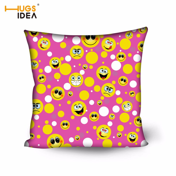 HUGSIDEA 3D Emoji Creative Decorative Cushion Throw Pillows Polyester Fabric Home Decor Seat Funda Cojines Car Chair Back Pillow