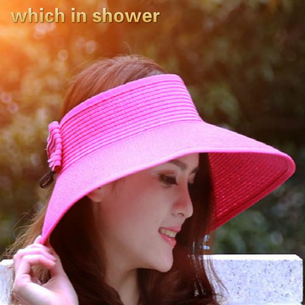 which in shower summer sun hats for women foldable big brim straw hat women outdoor sunscreen beach panama fashion female cap