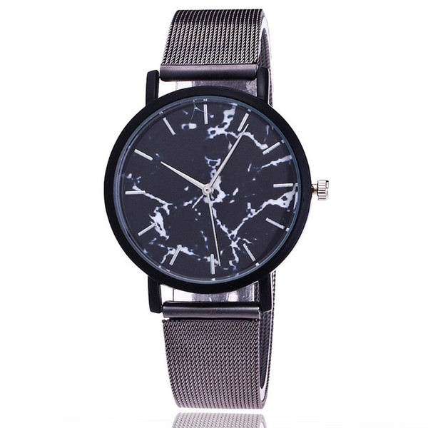 Top Brand Fashion Silver And Gold Mesh Band Creative Marble Wrist Watch Casual Women Quartz Watches Gift