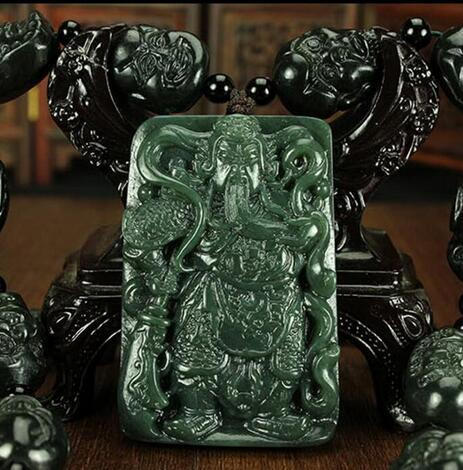 natural carved GUANYU HETIAN jade pendant China QINGYU green necklace pendants