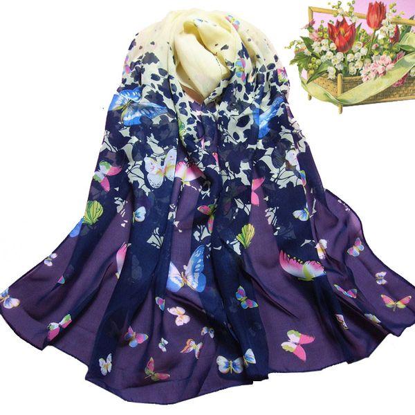 KANCOOLD women scarf socks Women Butterfly silk scarf Printed Flower Soft Muffler Chiffon Wrap Shawl Style APR9