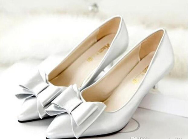 Low-heeled pointed shoes Asakuchi Korean bow with comfort in fine with scoop shoes shoes work