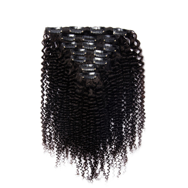 Clip In Human Hair Extensions Kinky 100g 7pcs/Set Kinky Curly 4B 4C Brazilian Human Natural Hair Clip Ins