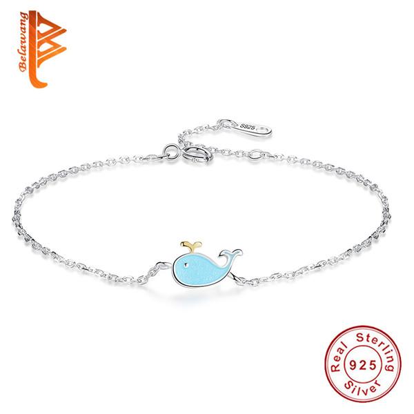 BELAWANG Lovely 925 Sterling Silver Blue Enamel Dolphin Chain Bracelet For Women Girl Fashion Adjustable Bracelet Silver Jewelry