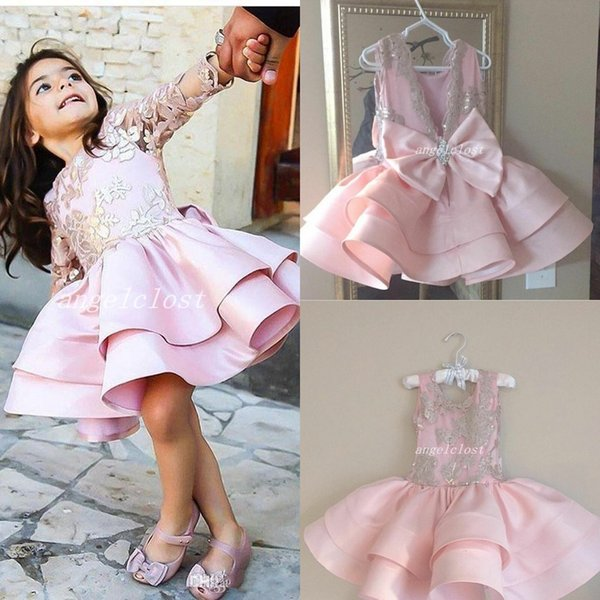 2018 Baby Pink Girls Pageant Dresses Jewel Backless Appliques Sequins Bow Short Child Birthday Party Gowns Cosplay Wear Flower Girl Dress