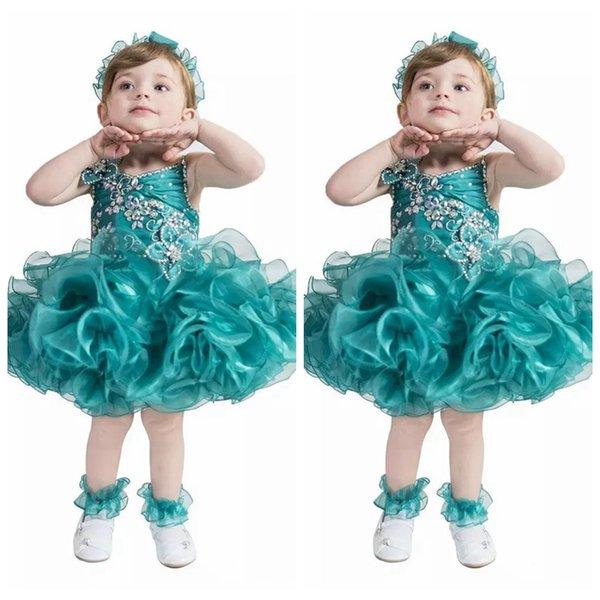 2019 Spaghetti Custom Bling Bling Formal Girls Pageant Cupcake Dresses  Infant Tutu Gowns Toddler Baby Girls Puffy Mini Birthday Gowns Flower Girl