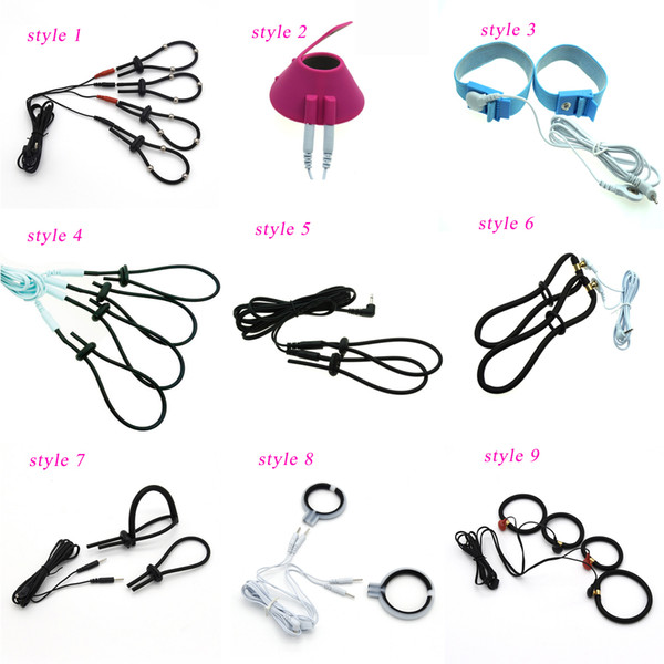 Electric Shock Cock Rings Penis Rings Ball Stretcher Bondage Sex Toys For Men Adult Games SM Sex Products 9 Style for Choose