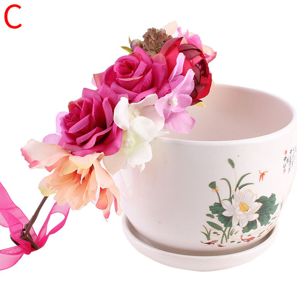 2018 new Women Head Wreath For Girls Hair Headband Flower Crown Wedding Garland Forehead Hair accessories Headdress band
