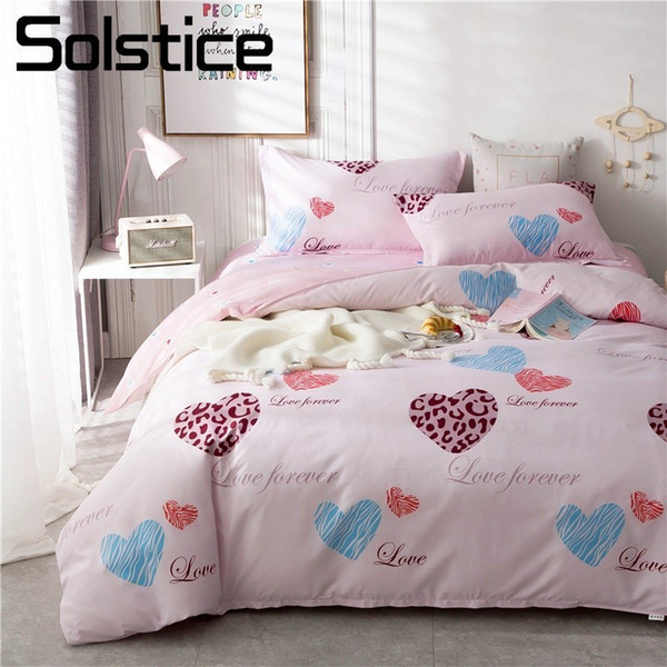 Solstice Home Textile Bedding Linens Set Pink Heart Cartoon Duvet Cover Pillow Case Bed Sheet Girl Kid Teenage Bedclothes 3-4pcs