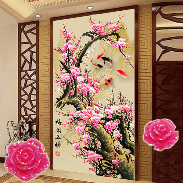 wholesale GLymg Diy Needlework Diamond Painting Cross Stitch Plum Blossom Shaped Stone Diamond Embroidery Chinese Gift Picture Home Decor
