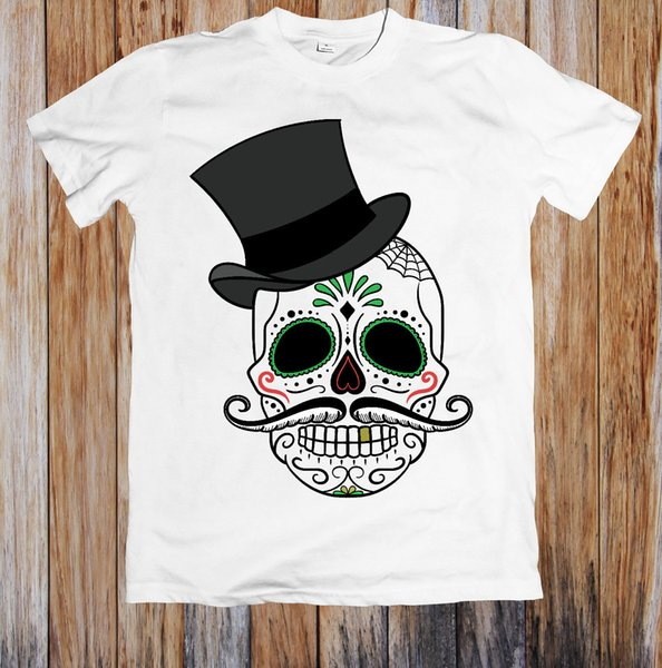 COLORFUL SKULL WITH HAT UNISEX T-SHIRT jersey Print t-shirt
