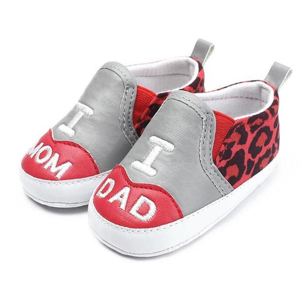 Sneakers bambino appena nato Mocassino bambino Leopard PU in pelle Stampa antiscivolo suola morbida I Love DAD MOM primi camminatori