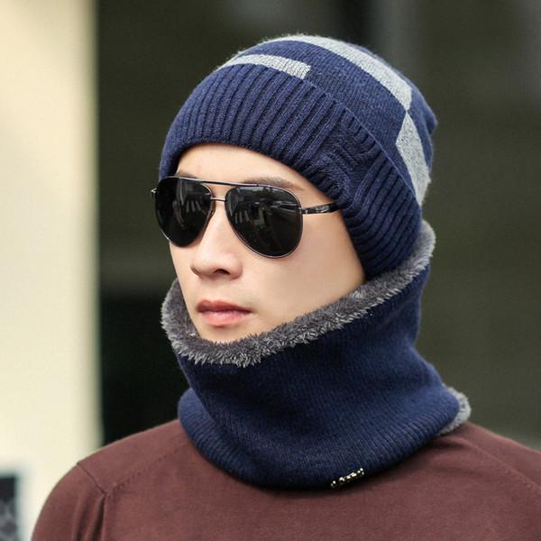 Winter Europe and the United States plus cashmere cap men's hat bib two-piece square knit earmuffs cap wholesale