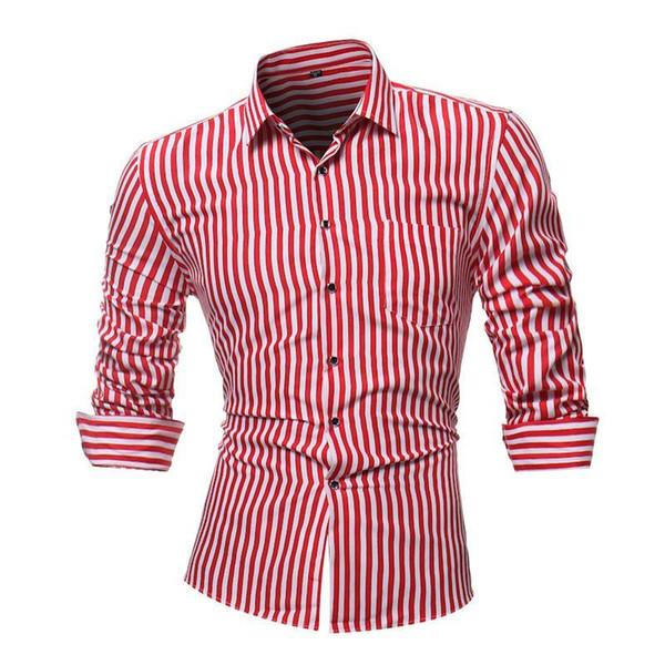 JCCHENFS 2018 Fashion Striped Mens Shirts Classic Long Sleeve Casual Shirt For Men Slim Fit Male Social Business Dress Shirt