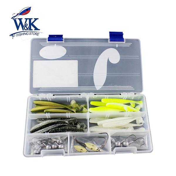 "W&K Fishing Lure Kit 44pcs Mixed 3.5"" Key Shad Soft Lure Jig Head Perch High Quality Different Colors Soft Lure Kits #WJ1801"
