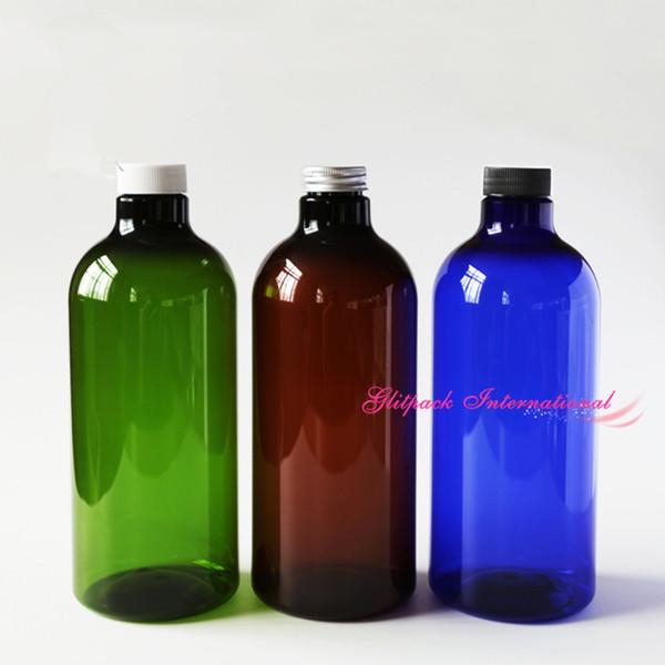 top popular 1000ml PET Bottle 35oz large plastic bottles for liquid lotion Essencial Oil Ocean Fresh Water Cosmetics pharma Hydrosols bottle green blue 2021