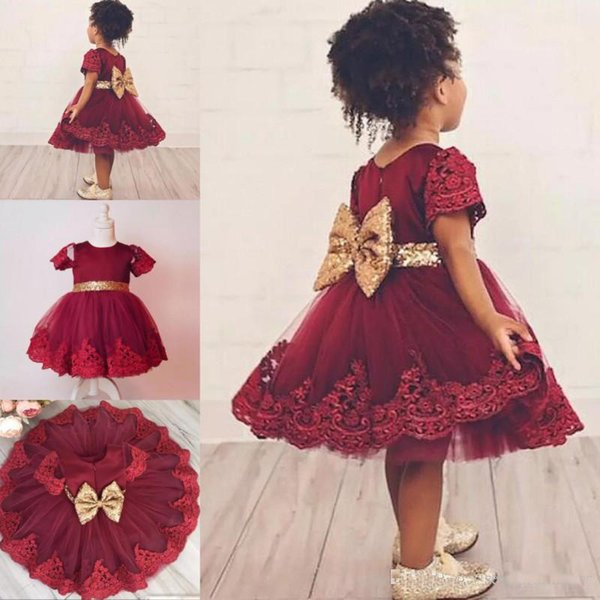 Dark Red Lace Short Sleeves Flower Girl Dresses For Wedding 2018 Knee Length Tulle Girls Pageant Gowns With Gold Sequined Bow Baby Dress