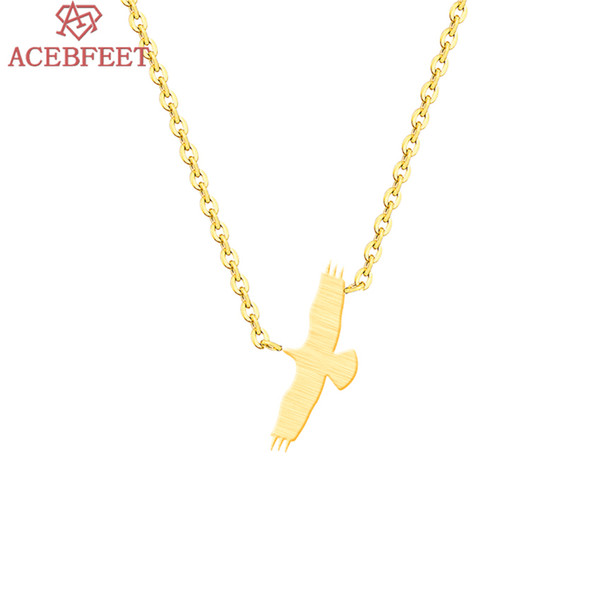 ACEBFEET Color de Oro de Moda Animal Lindo Flying Eagle Charm Colgante Collar de Joyería de la Declaración para Las Mujeres Femme Gargantilla Collares