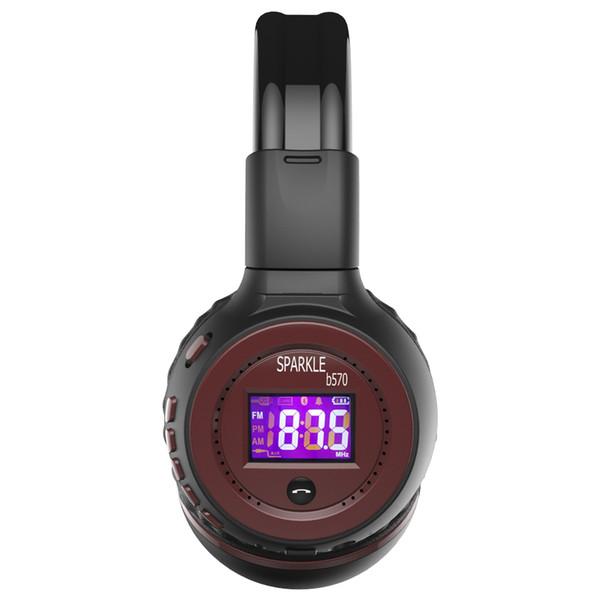 Zealot B570 Faltbarer Stereo-Hifi-Bluetooth-Kopfhörer Drahtloser Kopfhörer mit LCD-Bildschirm Micro-SD-Kartensteckplatz Mic FM-Radio für Musik