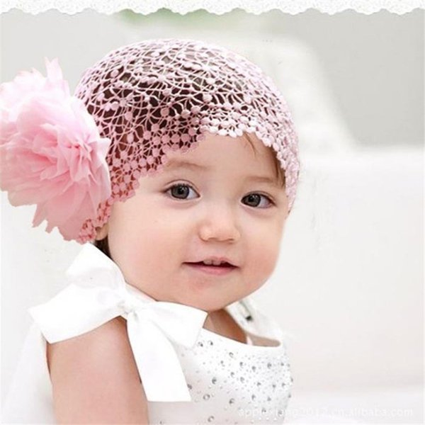 design Infant Baby Girl Princess Headband Flower Toddlers Hair Band Crochet Pink turban faixa de cabelo baby hair accessories 15