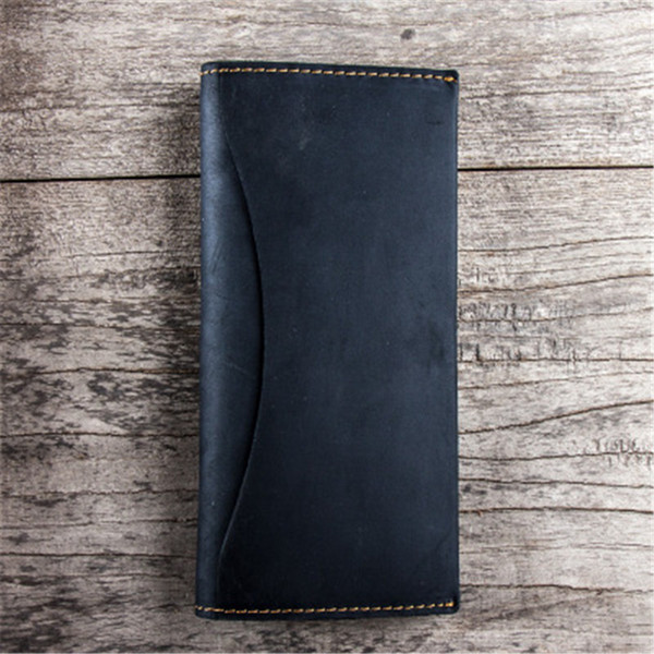 ALAVCHNV new men and women models the first layer of crazy horse leather handmade long retro wallet YG414