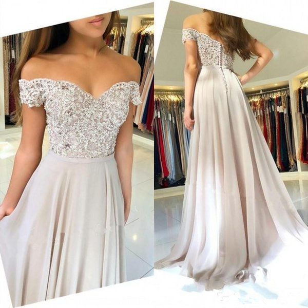 Latest Off-Shoulder Prom Dresses Capped Sleeves Lace Appliques Long A Line Party Gowns For Girl Evening Wear