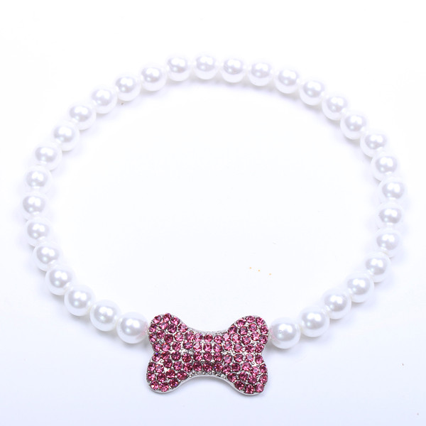 Small dog cat Pearls Necklace Collar With Rhinestones Bone Charm Pendant Pet Puppy Jewelry 3 sizes 3 colours