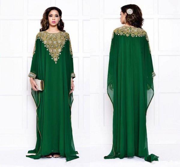 2019 Arabic Fashion Evening Dresses For Muslim Saudi Arabian Dubai Luxury Womens Cheap Crystals Sequins Dark Green Long Sleeve prom Gowns