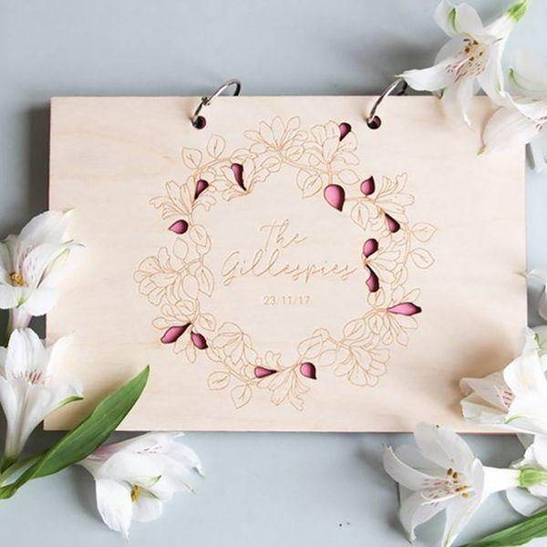 Libro degli ospiti di nozze personalizzati Libro degli ospiti di nozze in legno Libro delle firme personalizzate Forniture di regalo in legno personalizzate