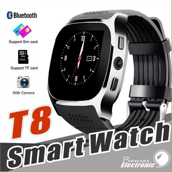 Para Apple iPhone android T8 Bluetooth Reloj inteligente Podómetro Tarjeta SIM TF con cámara Sincronización Mensaje de llamada Smartwatch pk DZ09 U8 Q18 fitbit